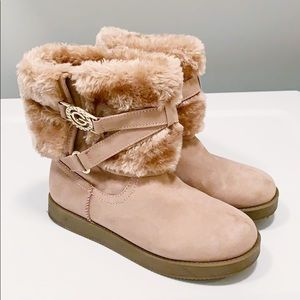 GUESS Pink Faux Fur Boots